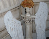 Angel Wings Wood Hand Carved White Distressed Shabby Chic Angel Wings Wood Hand Carved Angel Wings Cottage Angel Wings