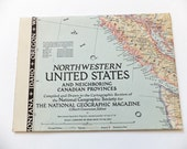North Western United States National Geographic Map, 1950, Home Decor, Large Vintage Map