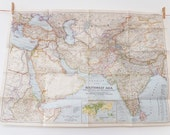 Southwest Asia Map, National Geographic Map, 1952, Pakistan, North East Africa, India, Old Map, Large Vintage Map