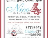"PRINTABLE (5"" x 7"" INVITE) - ""Old Time"" Carnival Collection- Vintage Design"