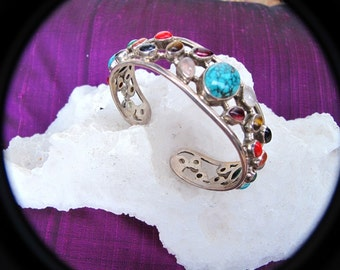 Sterling Bangle Bracelet with 29 Gemstones-Free Holiday Shipping