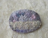 Wild Meadow embroidered felt brooch with antique lace