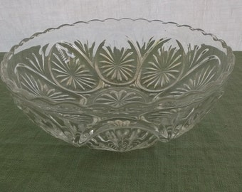 Vintage Bowl Pressed Glass Serving Bowl Scalloped Edge