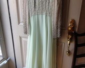 Reserved. Sale Pale Green Chiffon Beaded Top Gown