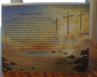 Footprints In The Sand Poem, High Quality Print, Three Crosses