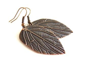 Leaves Red Copper Earrings