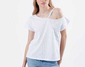 Womens white one shoulder tshirt, casual minimal chic wear