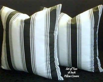 Decorative Pillows, Throw Pillows, Pillow Covers - Set of Two 18 Inch - Black and White Stripe