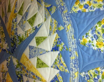 Round Quilted Table Topper Blue and Yellow French Country Quiltsy Handmade
