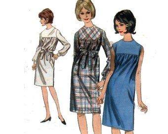 "60s Dress Sewing Pattern with Front Yoke and Self Tie Belt UNCUT Vintage Women's Size 12 Bust 32"" (81 cm) - Butterick 3769"
