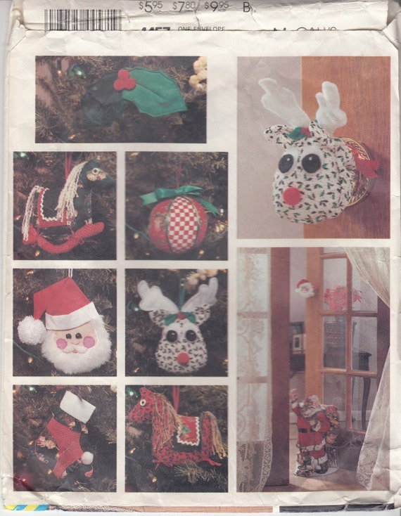 Christmas ornaments sewing pattern stockings door knob for Christmas card holder wall hanging