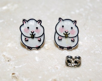 Pink and White Hamsters Illustrated Hand-Made Stud Earrings