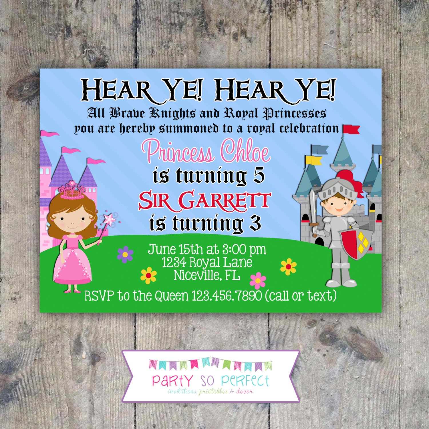 PRINCESS KNIGHT 5x7 Birthday Party Invitation PRINTABLE – Princess and Knight Party Invitations