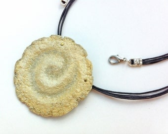 Unique paper fossil jewelry in neutral tones, Eco chic necklace,