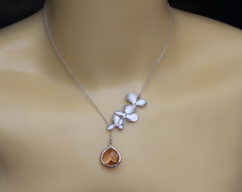 peach necklace , orchid peach necklace , Champage necklace