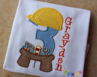 Construction Birthday Tee - Hard Hat Birthday Shirt PERSONALIZED