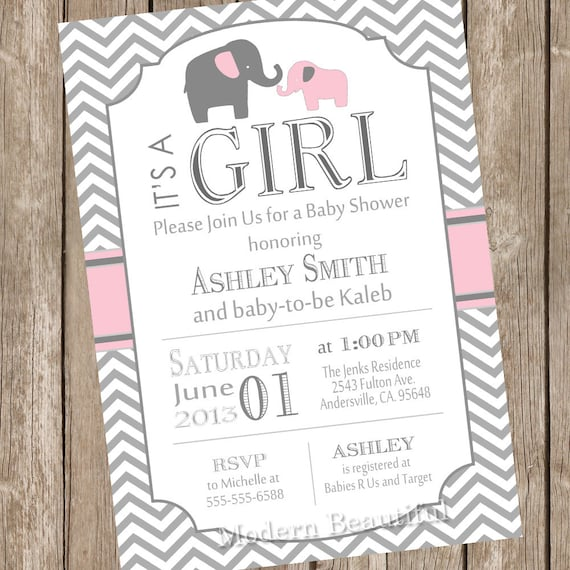 pink and gray girl elephant baby shower invitation pink grey