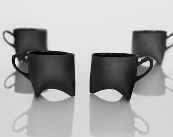 Ceramic cups set of four- black porcelain mugs, contemporary ceramic cups handmade coffee cup or tea cup by Endesign