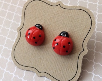 Titanium Ladybug Earrings, hypoallergenic posts