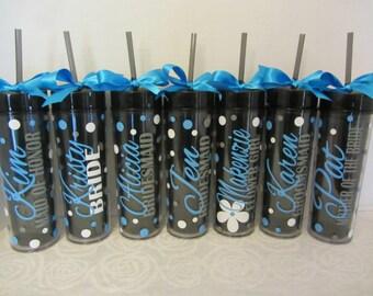 10 Skinny personalized acrylic tumblers - wedding - Quantity of 10 - wedding party