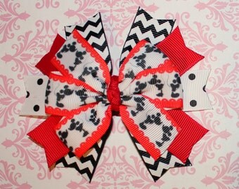 Mickey and Minnie SmoochingPinwheel Hair Bow -  Black and Red Chevron Spiked Bow