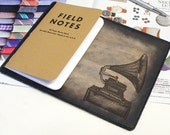 Field Notes Leather Cover - Gramaphone - Customizable - Free Personalization