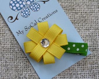 Spring Flower Hair Clip/Flower Ribbon Sulpture Hair Clip/No Slip Hair Clip/You Choose Color