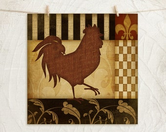 Rooster I - 12x12 Art Print -Country, Kitchen Wall Decor -Decorative Patterns -Black, Gold, Red