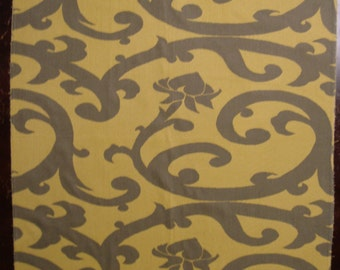 Fabric Sample Reversible with Art Nouveau Design in Colors of Taupe and Maze