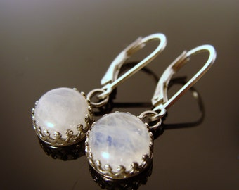 Rainbow Moonstone Bezel Set Sterling Silver LeverBack Earrings