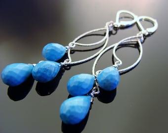 Sleeping Beauty Turquoise Long Chandeliers Sterling Silver Leverback Earrings