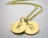Two Initial Necklace, Gold Initial Necklace, Double Monogram Necklace, Anniversary Gift, Custom Silver Necklace, Gold Two Letter Necklace