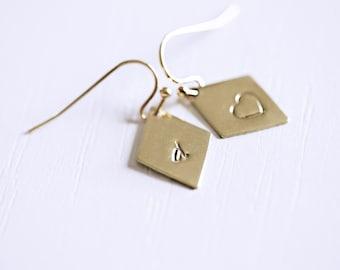 Monogrammed Earrings, Gold Rhombus Initial Earrings, Two Initials Earrings, Initial Heart Earrings, Bridesmaids Initial Earrings, Customized