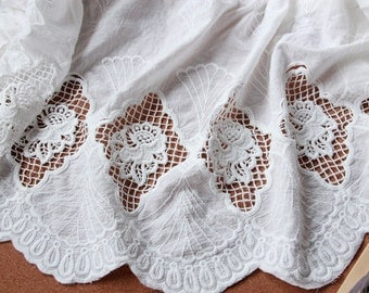 Cotton Lace Fabric Crochet Hollowed Out Flower Fabric 51 Inches Wide 1 Yard For Dress Bag Costume Headwear Supplies