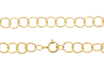 14Kt Gold Filled 5mm Hammered Circle 16 Inch Neck chain with clasp - 1pc 10% Discounted High Quality Shiny 925 Stamped (5759)/1