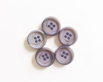 Vintage Buttons, 5 Vintage Light Grey Lila Purple Buttons, 0.8 inches