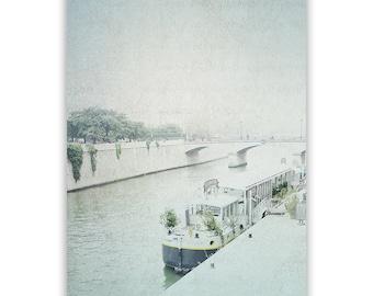 Paris Photography, aqua decor, dreamy Paris decor, Paris Barges Paris Wall Art, Paris Seine river photo, French decor - Fine Art Photograph