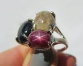Red Carpet Natural Star Sapphire, Natural Star Ruby, Natural Multicolor Opal Cocktail Ring. Size 7