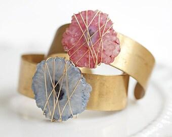 Carnaby Geode Stone Wrap on Brass Cuff bracelet