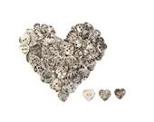 10 Vintage Silver Metal Buttons / heart shaped buttons . diy wedding decor crafts primitive heart buttons