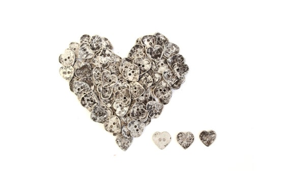 10 Vintage Silver Metal Buttons / heart shaped buttons . diy wedding decor crafts primitive heart buttons
