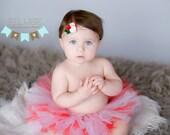 Tutu and Headband SET - Pink Red & White Sweet Roses Trio Style Newborn Tutu Set, baby girl tutu set, girls, felt rose headband