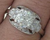 Original Art Deco Platinum 1.30ct European Cut Diamond J VS1 Ring, Circa 1915
