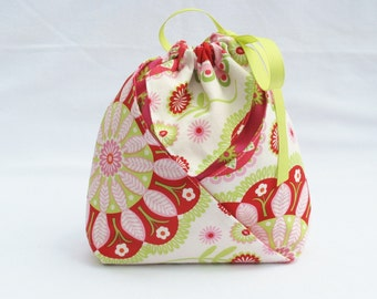 Origami Gift Bag - Pillow and Maxfield Gypsy Bandana in White for Michael Miller