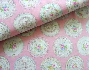 Japanese Fabric Yuwa, Pink Fabric, Rose Fabric, Angel Fabric, Circle Fabric, Floral Fabric, Shabby Chic Fabric/Ornamental Dishes/a yard
