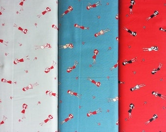 Kawaii Japanese Cotton Fabric, Yuwa Fabric, Retro Fabric, Girl Fabric, Geometric Fabric, Dress Fabric, Shirting Fabric/Little Girl/a yard