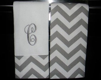 Monogrammed Kitchen Towels or Hand Towels in Grey Chevron | Housewarming Gift | Hostess Gift | Gifts for Her | Wedding