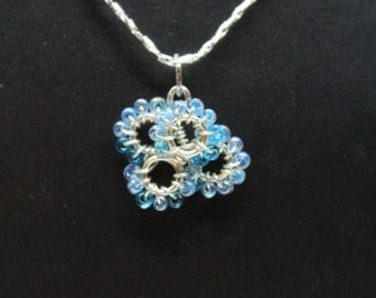 Silver Plated Wire Wrapped Blue Beaded Pendent Necklace