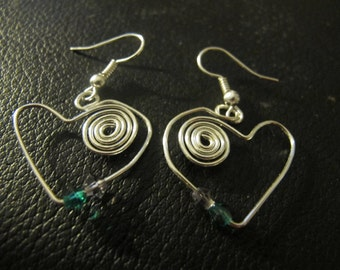 Silver wire wrapped heart earrings Swarovski crystals