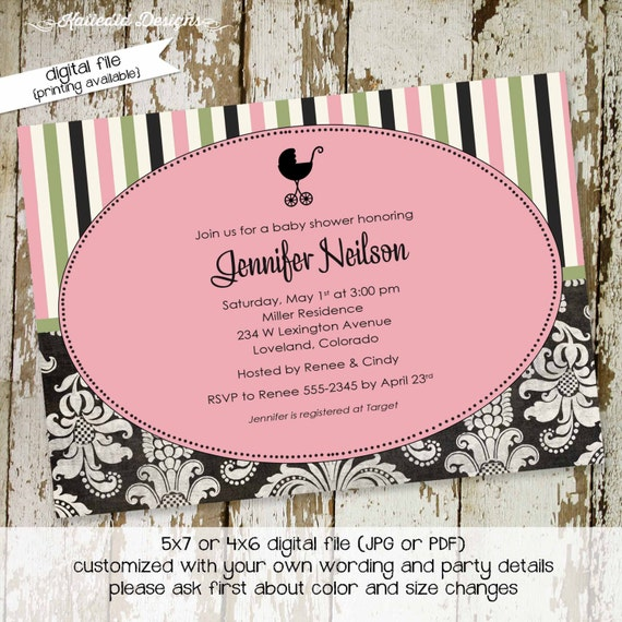 baby girl shower invitations with oval and baby carriage, digital, printable file (item 1310) baby shower invite